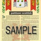 PATTISON - SCOTTISH - Armorial Name History - Coat of Arms - Family Crest GIFT! 8.5x11