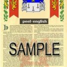 PEEL - ENGLISH - Armorial Name History - Coat of Arms - Family Crest GIFT! 8.5x11