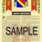 PEER - GERMAN - Armorial Name History - Coat of Arms - Family Crest GIFT! 8.5x11