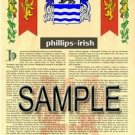 PHILLIPS - IRISH - Armorial Name History - Coat of Arms - Family Crest GIFT! 8.5x11