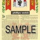 PHILLIPS - WELSH - Armorial Name History - Coat of Arms - Family Crest GIFT! 8.5x11