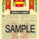 PHILPOT - ENGLISH - Armorial Name History - Coat of Arms - Family Crest GIFT! 8.5x11