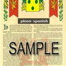 PINON - SPANISH - Armorial Name History - Coat of Arms - Family Crest GIFT! 8.5x11
