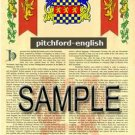 PITCHFORD - ENGLISH - Armorial Name History - Coat of Arms - Family Crest GIFT! 8.5x11