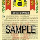POTTS - GERMAN - Armorial Name History - Coat of Arms - Family Crest GIFT! 8.5x11