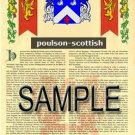 POULSON - SCOTTISH - Armorial Name History - Coat of Arms - Family Crest GIFT! 8.5x11