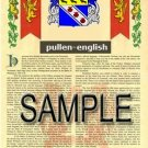 PULLEN - ENGLISH - Armorial Name History - Coat of Arms - Family Crest GIFT! 8.5x11