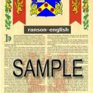 RANSON - ENGLISH - Armorial Name History - Coat of Arms - Family Crest GIFT! 8.5x11