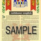 RATHBONE - ENGLISH - Armorial Name History - Coat of Arms - Family Crest GIFT! 8.5x11