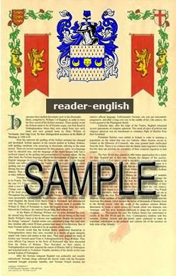 READER - ENGLISH - Armorial Name History - Coat of Arms - Family Crest GIFT! 8.5x11