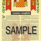 REAMS - ENGLISH - Armorial Name History - Coat of Arms - Family Crest GIFT! 8.5x11