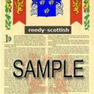 REEDY - SCOTTISH - Armorial Name History - Coat of Arms - Family Crest GIFT! 8.5x11