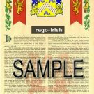 REGO - IRISH - Armorial Name History - Coat of Arms - Family Crest GIFT! 8.5x11