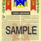 REISS - GERMAN - Armorial Name History - Coat of Arms - Family Crest GIFT! 8.5x11