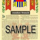 RENDON - FRENCH - Armorial Name History - Coat of Arms - Family Crest GIFT! 8.5x11