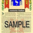 RENTERIA - ITALIAN - Armorial Name History - Coat of Arms - Family Crest GIFT! 8.5x11