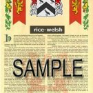 RICE - WELSH - Armorial Name History - Coat of Arms - Family Crest GIFT! 8.5x11