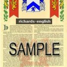 RICHARDS - ENGLISH - Armorial Name History - Coat of Arms - Family Crest GIFT! 8.5x11