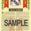 RIVES - ENGLISH - Armorial Name History - Coat of Arms - Family Crest GIFT! 8.5x11