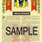 RIVES - FRENCH - Armorial Name History - Coat of Arms - Family Crest GIFT! 8.5x11