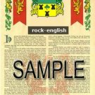 ROCK - ENGLISH - Armorial Name History - Coat of Arms - Family Crest GIFT! 8.5x11