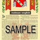 RODMAN - ENGLISH - Armorial Name History - Coat of Arms - Family Crest GIFT! 8.5x11
