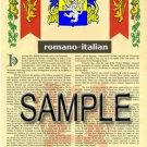 ROMANO - ITALIAN - Armorial Name History - Coat of Arms - Family Crest GIFT! 8.5x11
