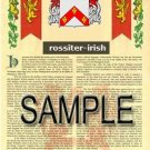 ROSSITER - IRISH - Armorial Name History - Coat of Arms - Family Crest GIFT! 8.5x11