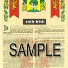 ROTH - IRISH - Armorial Name History - Coat of Arms - Family Crest GIFT! 8.5x11