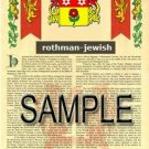 ROTHMAN - JEWISH - Armorial Name History - Coat of Arms - Family Crest GIFT! 8.5x11