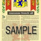 ROUSSEAU - FRENCHALT - Armorial Name History - Coat of Arms - Family Crest GIFT! 8.5x11