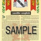 SAVILLE - ENGLISH - Armorial Name History - Coat of Arms - Family Crest GIFT! 8.5x11