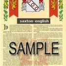SAXTON - ENGLISH - Armorial Name History - Coat of Arms - Family Crest GIFT! 8.5x11