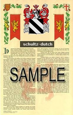 SCHULTZ - DUTCH - Armorial Name History - Coat of Arms - Family Crest GIFT! 8.5x11