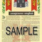 SEAGRAVES - ENGLISH - Armorial Name History - Coat of Arms - Family Crest GIFT! 8.5x11