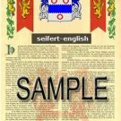 SEIFERT - ENGLISH - Armorial Name History - Coat of Arms - Family Crest GIFT! 8.5x11