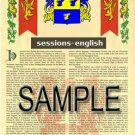 SESSIONS - ENGLISH - Armorial Name History - Coat of Arms - Family Crest GIFT! 8.5x11