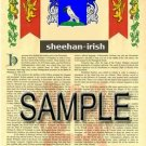 SHEEHAN - IRISH - Armorial Name History - Coat of Arms - Family Crest GIFT! 8.5x11