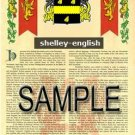 SHELLEY - ENGLISH - Armorial Name History - Coat of Arms - Family Crest GIFT! 8.5x11