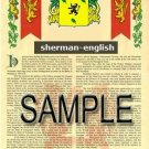 SHERMAN - ENGLISH - Armorial Name History - Coat of Arms - Family Crest GIFT! 8.5x11