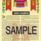 SHIN - ENGLISH - Armorial Name History - Coat of Arms - Family Crest GIFT! 8.5x11
