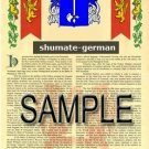 SHUMATE - GERMAN - Armorial Name History - Coat of Arms - Family Crest GIFT! 8.5x11