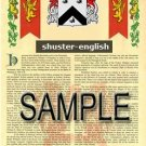 SHUSTER - ENGLISH - Armorial Name History - Coat of Arms - Family Crest GIFT! 8.5x11