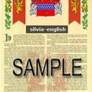 SILVIA - ENGLISH - Armorial Name History - Coat of Arms - Family Crest GIFT! 8.5x11