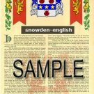 SNOWDEN - ENGLISH - Armorial Name History - Coat of Arms - Family Crest GIFT! 8.5x11