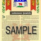 SOLOMON - JEWISH - Armorial Name History - Coat of Arms - Family Crest GIFT! 8.5x11