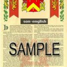SON - ENGLISH - Armorial Name History - Coat of Arms - Family Crest GIFT! 8.5x11