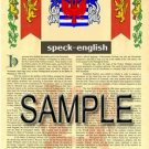 SPECK - ENGLISH - Armorial Name History - Coat of Arms - Family Crest GIFT! 8.5x11