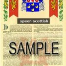 SPEER - SCOTTISH - Armorial Name History - Coat of Arms - Family Crest GIFT! 8.5x11