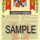 SPENCER - ENGLISH - Armorial Name History - Coat of Arms - Family Crest GIFT! 8.5x11